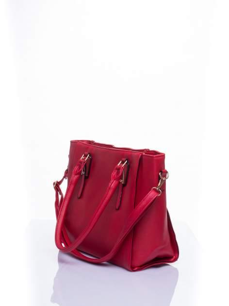 Czerwona torba shopper bag z odpinanym paskiem                                  zdj.                                  5