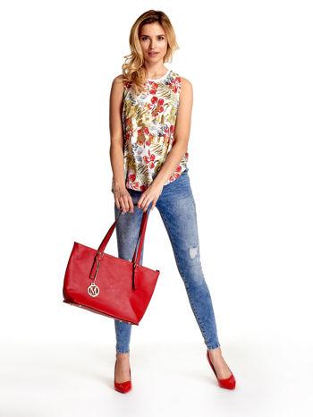 Czerwona torba shopper bag z regulowanymi rączkami                                  zdj.                                  2