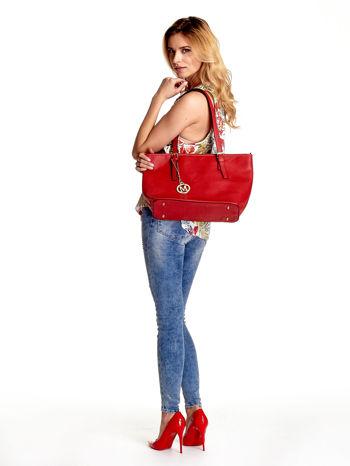 Czerwona torba shopper bag z regulowanymi rączkami                                  zdj.                                  6