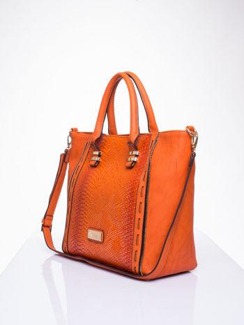 Czerwona torba shopper bag z wzorem skóry węża                                  zdj.                                  3