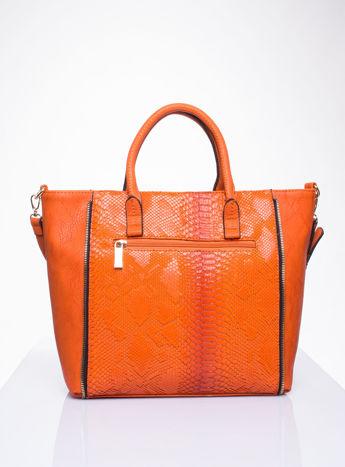 Czerwona torba shopper bag z wzorem skóry węża                                  zdj.                                  2