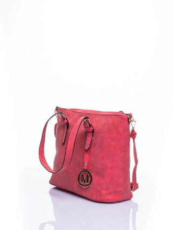Czerwona torba shopper bag z zawieszką                                  zdj.                                  3