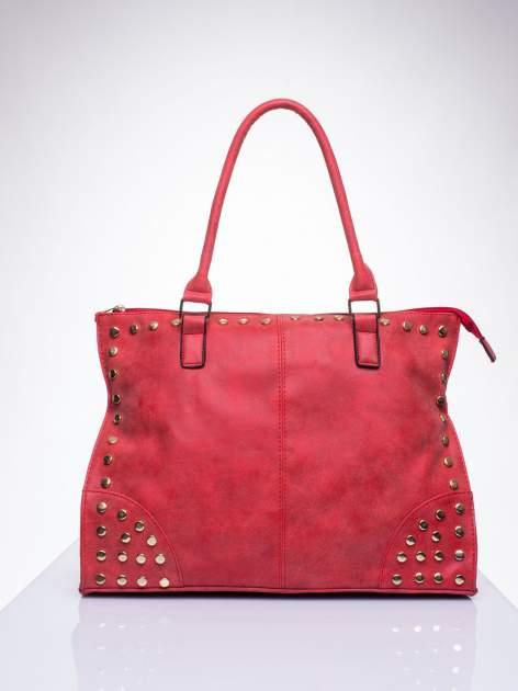 Czerwona torba shopper bag ze złotymi ćwiekami                                  zdj.                                  1