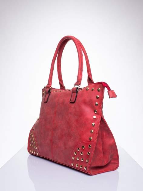 Czerwona torba shopper bag ze złotymi ćwiekami                                  zdj.                                  2