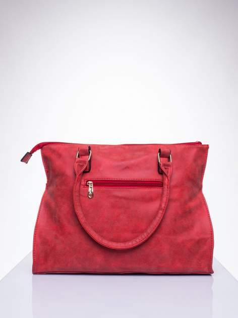 Czerwona torba shopper bag ze złotymi ćwiekami                                  zdj.                                  3