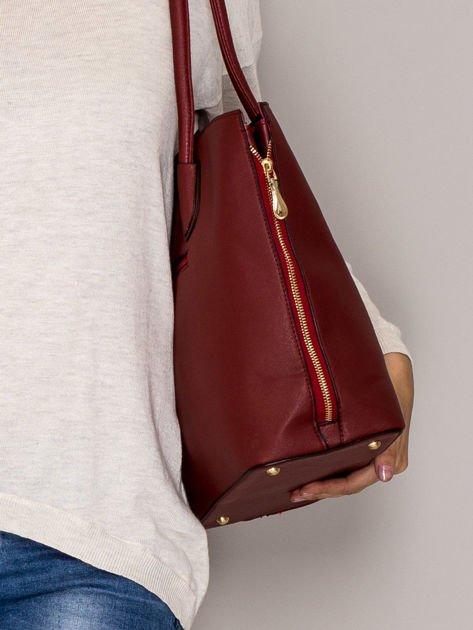 Czerwona torba shopper bag ze złotymi suwakami                                  zdj.                                  2