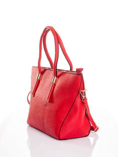 Czerwona torba shopper efekt saffiano                                  zdj.                                  3