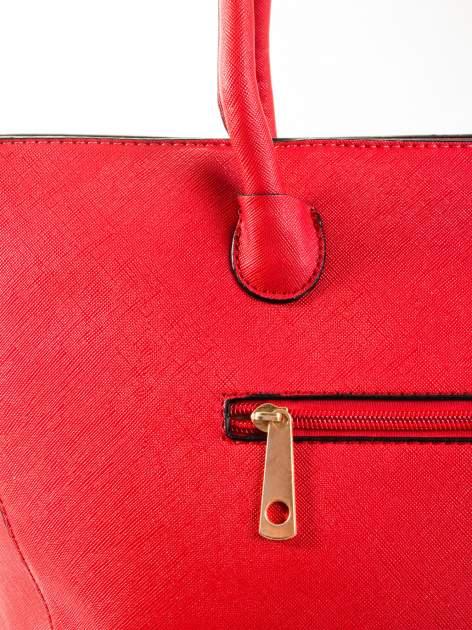 Czerwona torba shopper efekt saffiano                                  zdj.                                  5