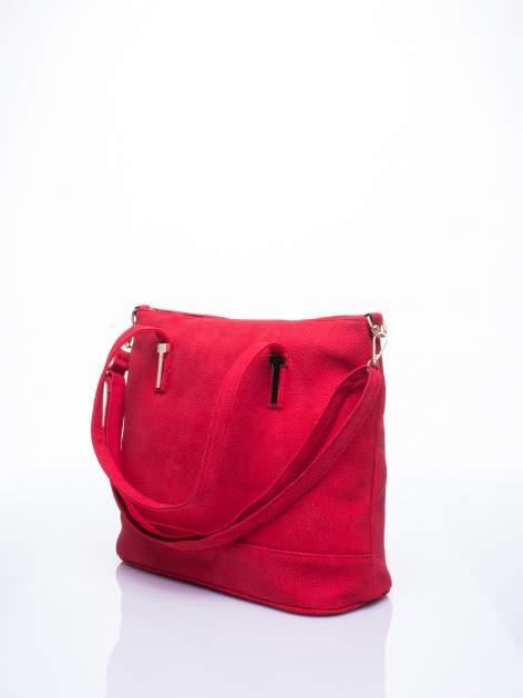 Czerwona torba shopperka z odczepianym paskiem                                   zdj.                                  2