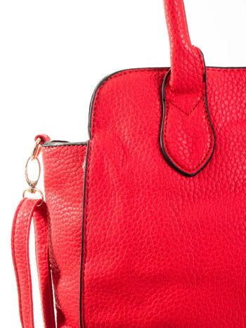 Czerwona torba z klamrami z odpinanym paskiem                                  zdj.                                  8