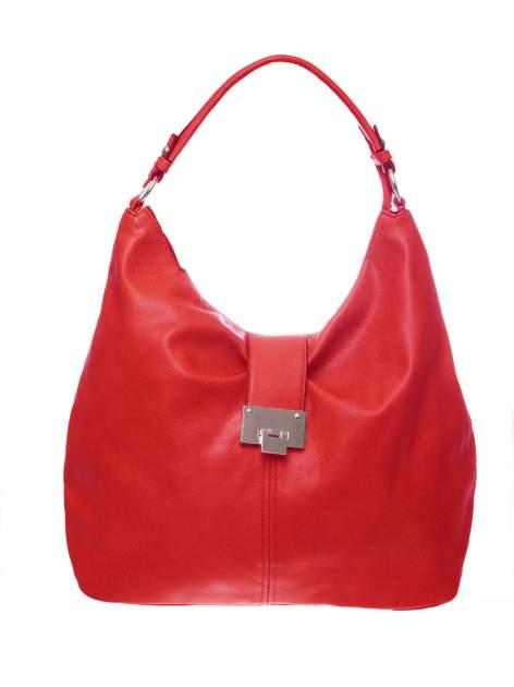 Czerwona torebka hobo z zapięciem                                  zdj.                                  1