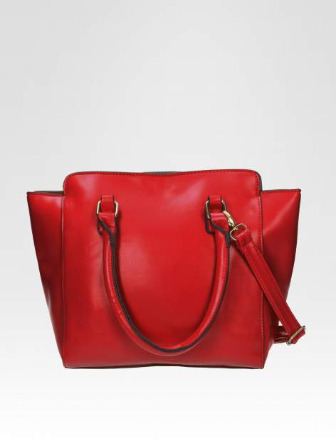 Czerwona torebka na ramię z dżetami                                  zdj.                                  3