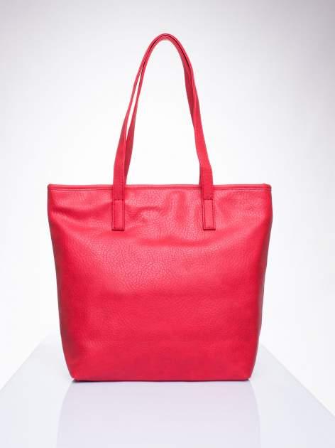Czerwona torebka shopper bag z kokardką                                  zdj.                                  4