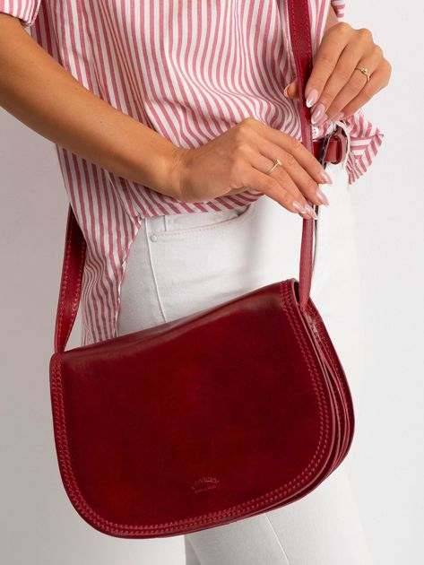 Czerwona torebka ze skóry naturalnej                              zdj.                              2