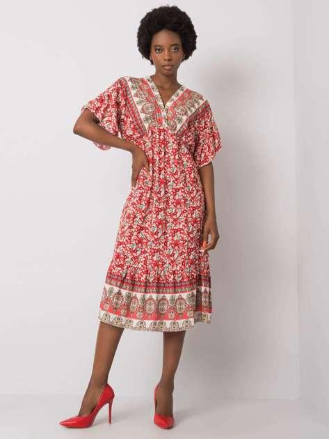 Czerwona wzorzysta sukienka Selkie