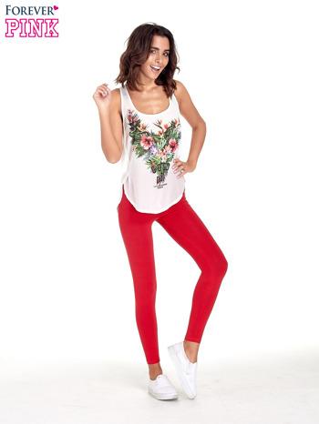 Czerwone gładkie legginsy damskie basic                                  zdj.                                  3