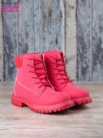 Czerwone jednolite buty trekkingowe damskie Westie traperki ocieplane                                  zdj.                                  3