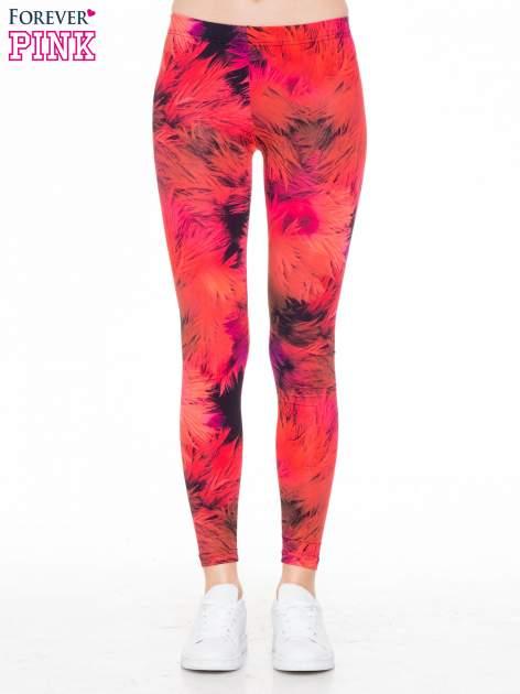 Czerwone legginsy w floral print