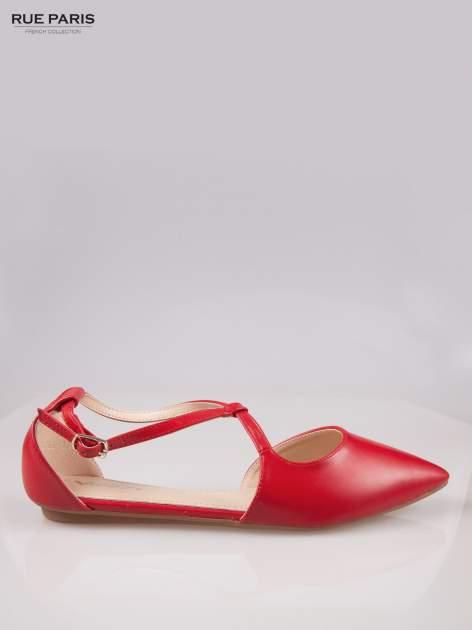 Czerwone odkryte baleriny wiązane w kostce                                  zdj.                                  1
