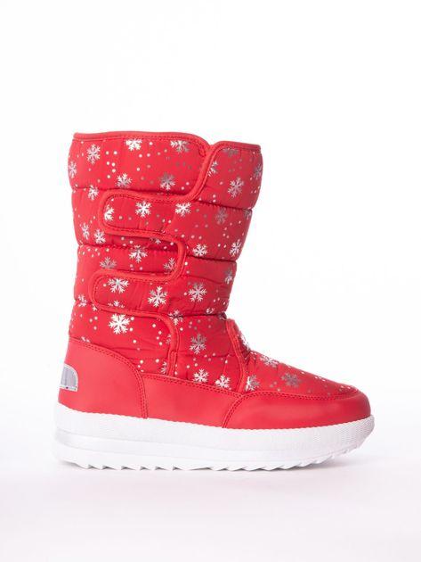 Czerwone pikowane śniegowce w srebrne gwiazdki                              zdj.                              1