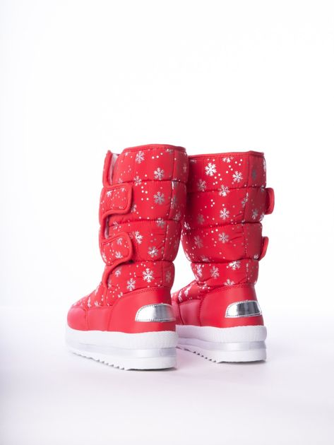 Czerwone pikowane śniegowce w srebrne gwiazdki                              zdj.                              3