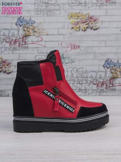 Czerwone skórzane sneakersy Perry z zamszowymi wstawkami i suwakami                                  zdj.                                  1