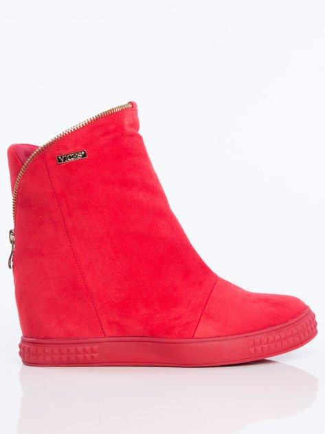 Czerwone sneakersy z ozdobnym suwakiem dookoła cholewki                              zdj.                              1