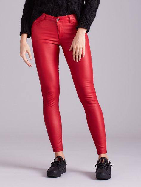 Czerwone woskowane spodnie                               zdj.                              1