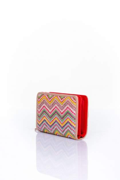 Czerwono-beżowy portfel z motywem geometrycznej plecionki                                  zdj.                                  2