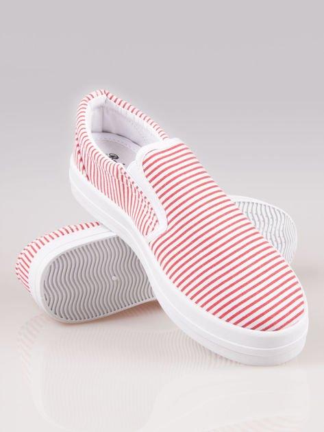 Czerwono-białe buty slip on w paski na grubej podeszwie                              zdj.                              4