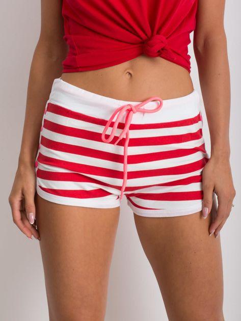 Czerwono-białe szorty Malleable                              zdj.                              1