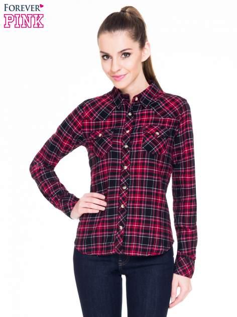 Czerwono-czarna koszula w kratę z kieszonkami                                  zdj.                                  1