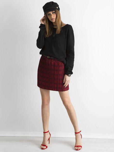 Czerwono-czarna plisowana spódnica we wzory                              zdj.                              4
