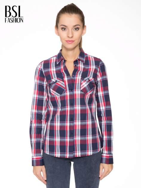 Czerwono-granatowa koszula w kratę z kieszeniami                                  zdj.                                  1