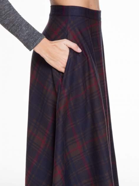 Czerwono-granatowa kraciasta spódnica midi szyta z półkola                                  zdj.                                  7