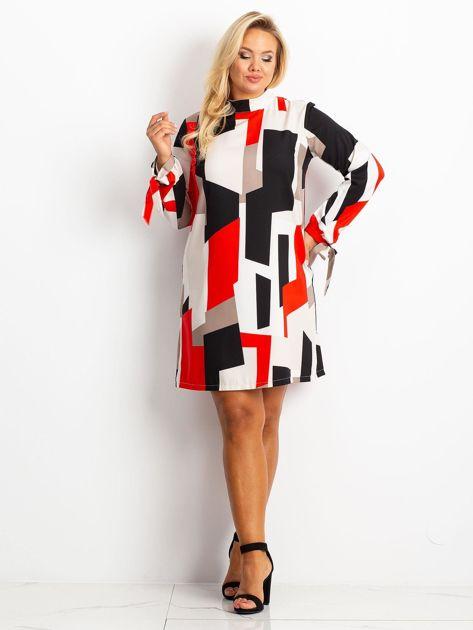 Czerwono-granatowa sukienka plus size Until                              zdj.                              4