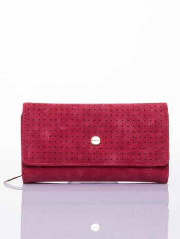 Czerwony ażurowany portfel ze złotym suwakiem                                  zdj.                                  1