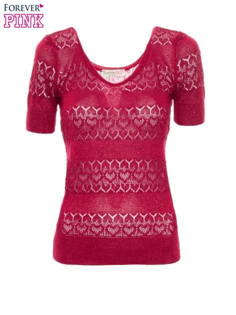 Czerwony ażurowy sweterek w stylu retro                                  zdj.                                  2