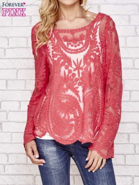 Czerwony ażurowy sweterk mgiełka z rozszerzanymi rękawami                                  zdj.                                  1