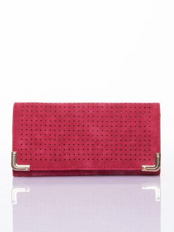 Czerwony dziurkowany portfel ze złotym wykończeniem                                  zdj.                                  1