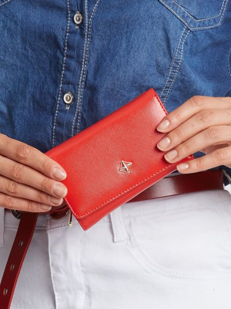 Czerwony mały portfel damski