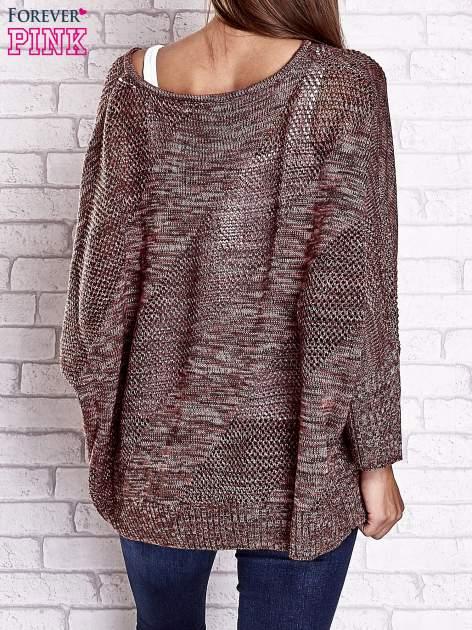 Czerwony melanżowy sweter oversize o kroju nietoperz                                  zdj.                                  5