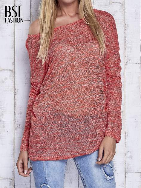Czerwony melanżowy sweter z łezką na plecach                                  zdj.                                  1