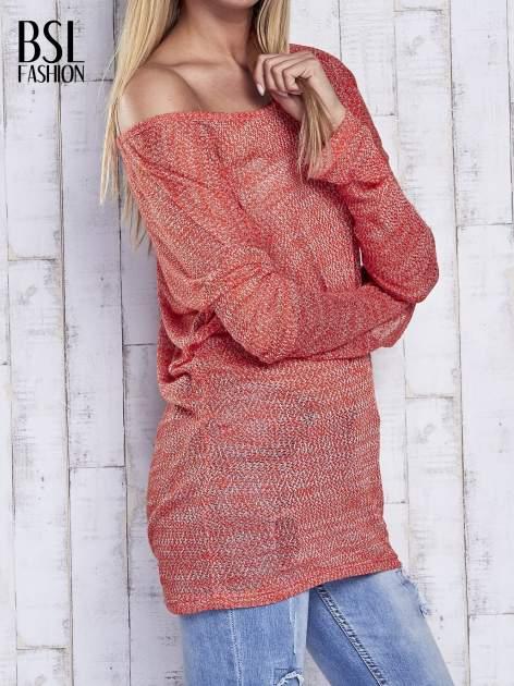 Czerwony melanżowy sweter z łezką na plecach                                  zdj.                                  3
