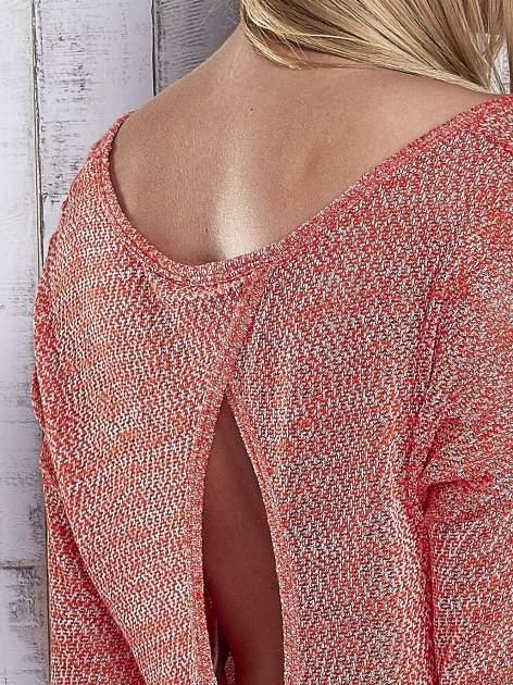Czerwony melanżowy sweter z łezką na plecach                                  zdj.                                  6