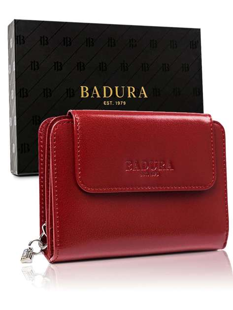Czerwony męski portfel skórzany BADURA