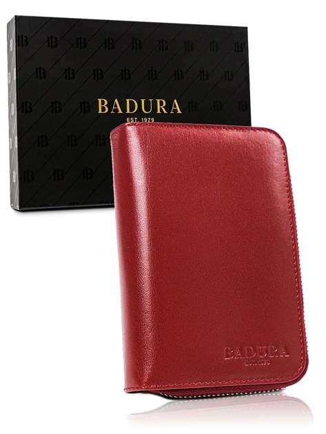 Czerwony męski portfel ze skóry BADURA