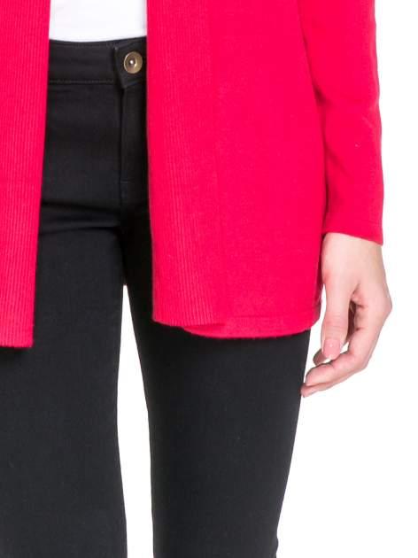 Czerwony otwarty sweter kardigan z prążkowanym kołnierzem                                  zdj.                                  6