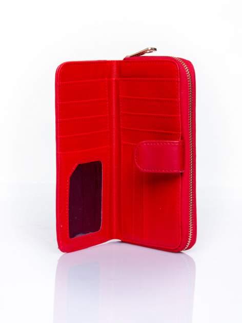 Czerwony pikowany portfel ze złotym suwakiem                                  zdj.                                  4