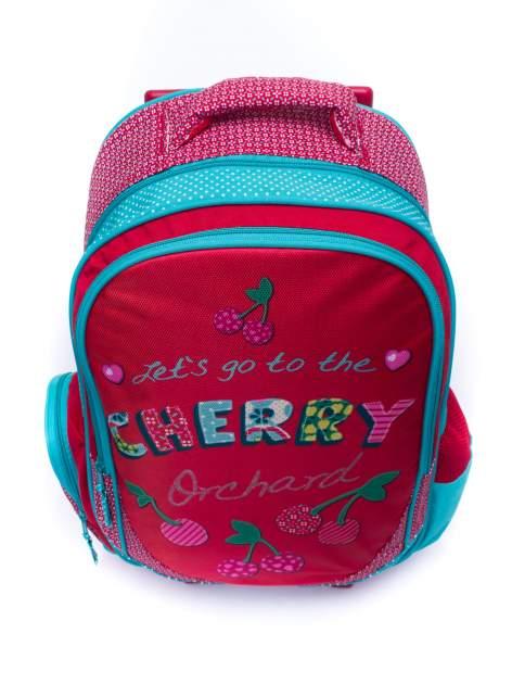 Czerwony plecak szkolny na kółkach walizka DISNEY w wisienki                                  zdj.                                  5